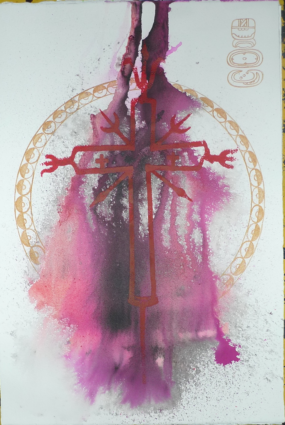 """'Mayan Calendar Chiapas Cross'  Ink and paint on paper  22"""" x 30""""  Original Painting in the collection of Justin Woolard"""