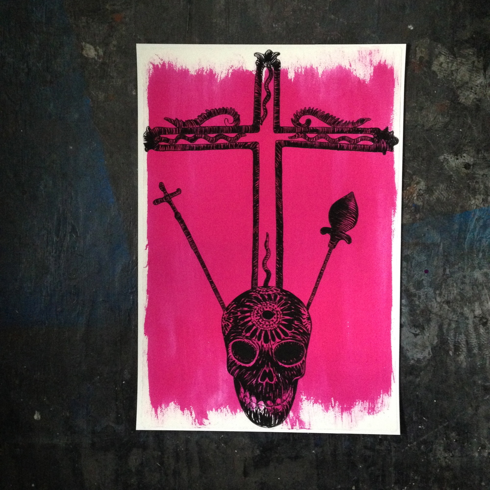 "'Pink Skull'  15.5"" x 22.5""  Please contact artist directly"