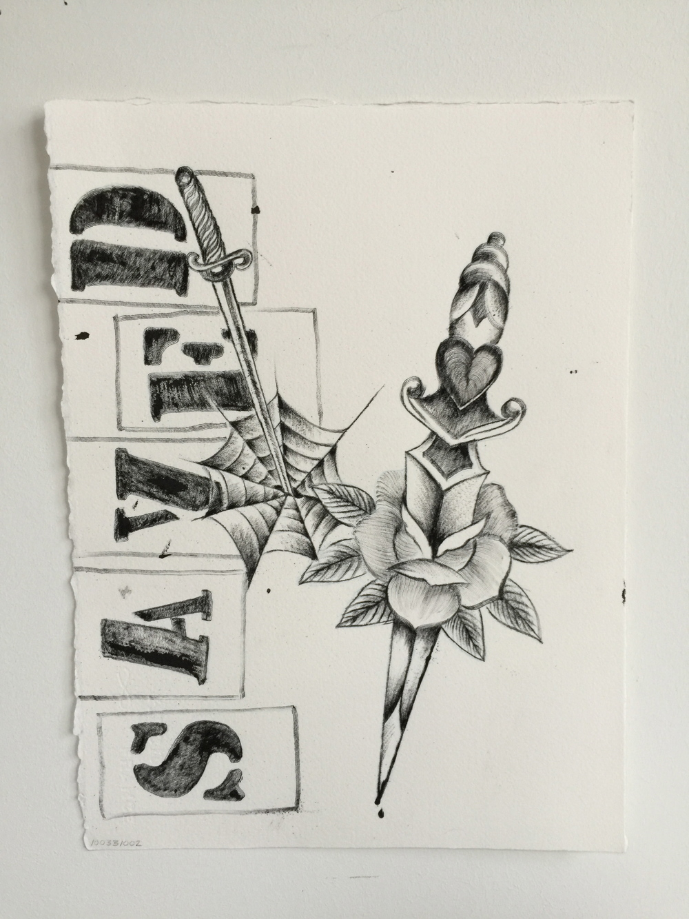 """'Rose & Dagger'  Talons Ink tattooed on Arches Paper  11"""" x 15"""""""