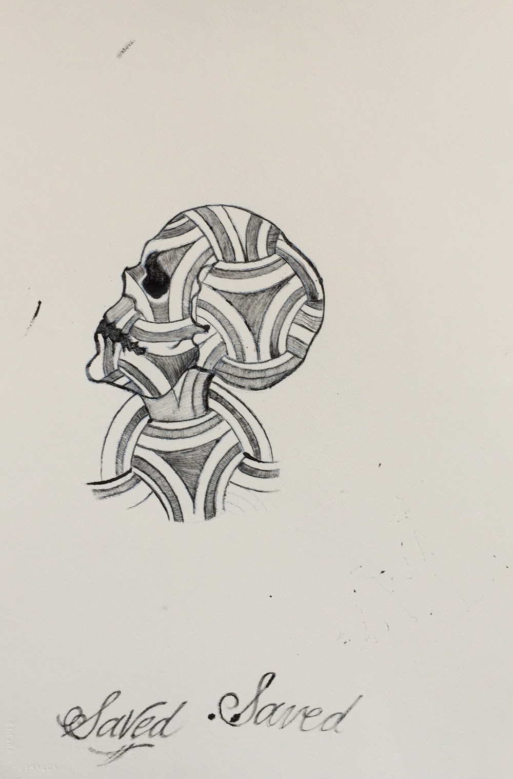 """'Saved Skull'  15"""" x 22""""  Talons Ink tattooed on Arches Paper with Sharpie marker"""