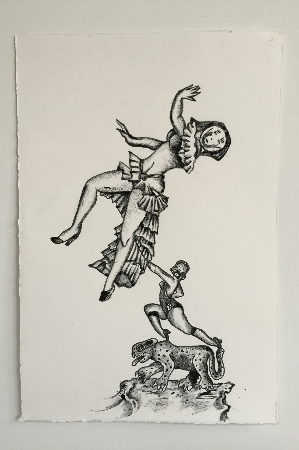 """'Jungle Acrobatics'  15"""" x 22""""  Talons Ink tattooed on Arches Paper with Sharpie marker"""