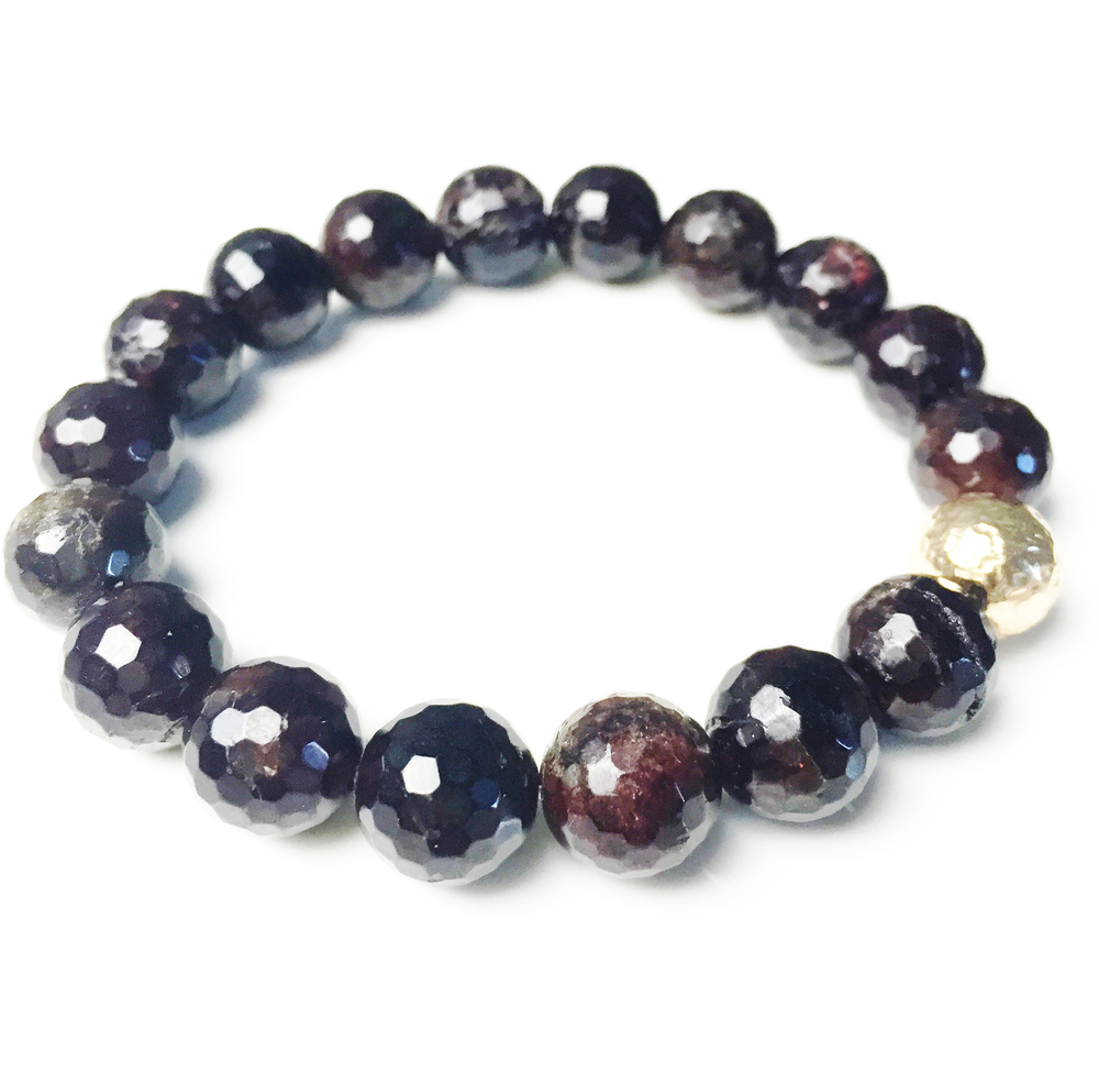above, classic stretch bracelet in dark garnet, $85
