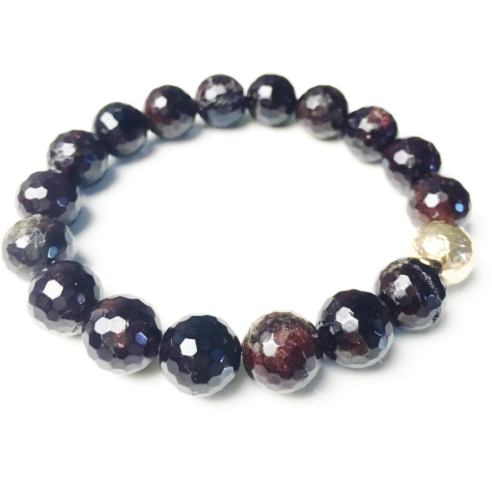 above, classic stretch bracelet in dark garnet, $85