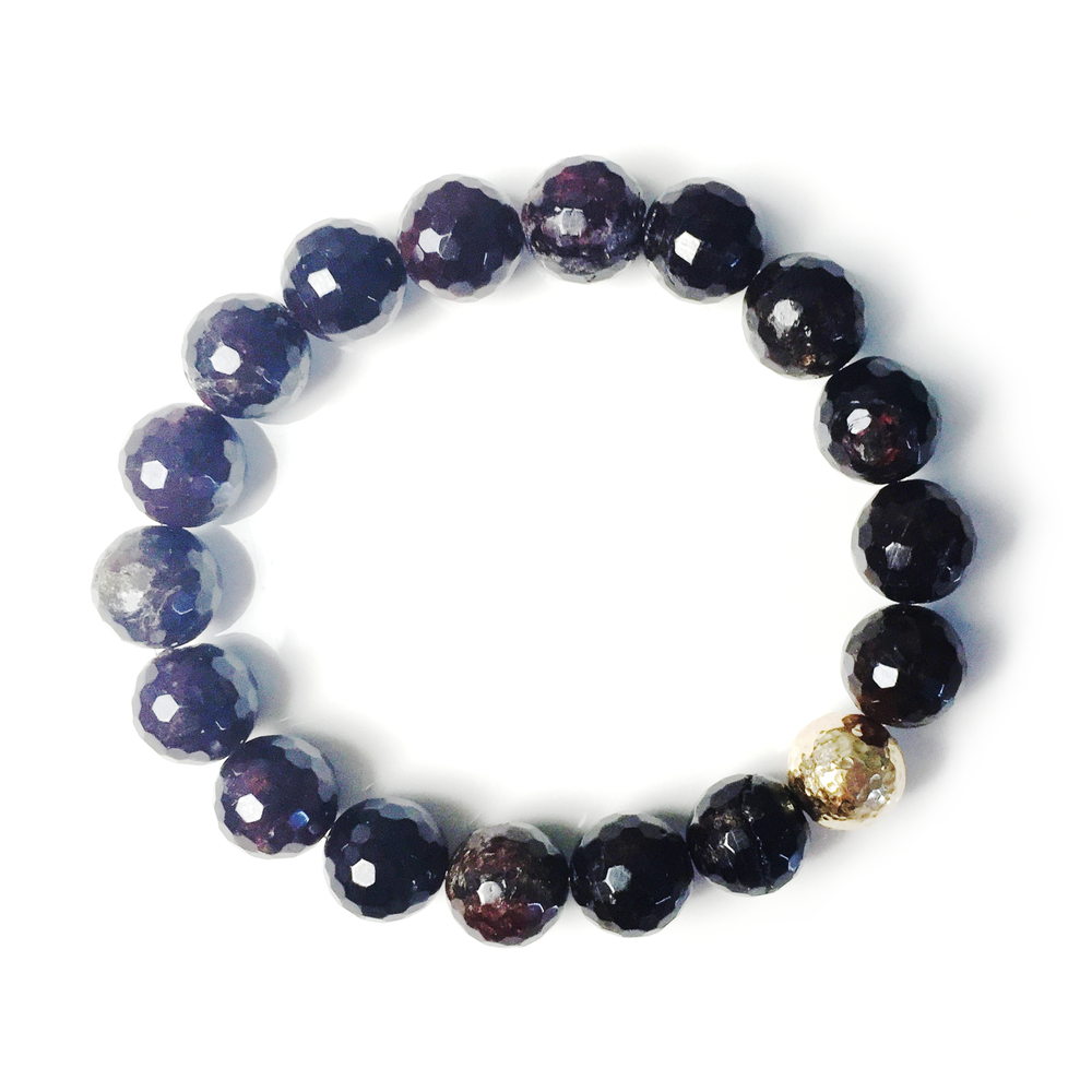 classic stretch bracelet in dark garnet, $85