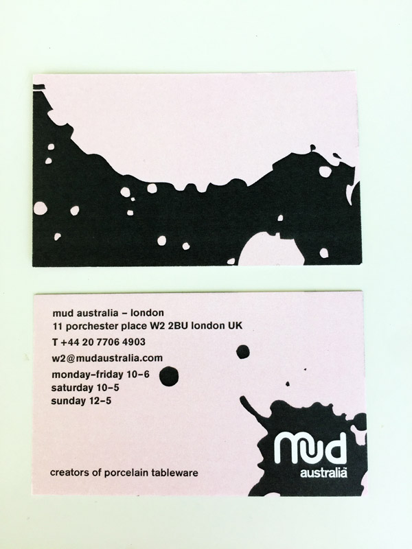 Mud Australia, London Store, business cards