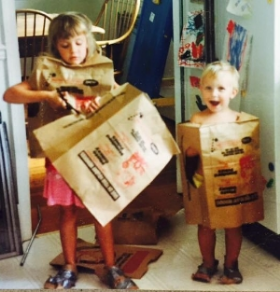 Rebecca and brother make robot costumes