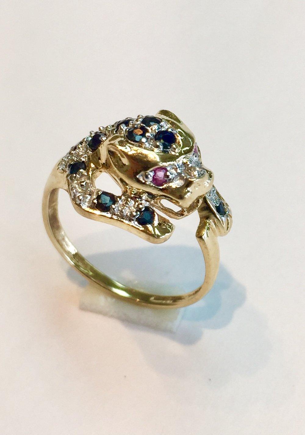 14K Yellow Gold Sapphire Diamond Cat