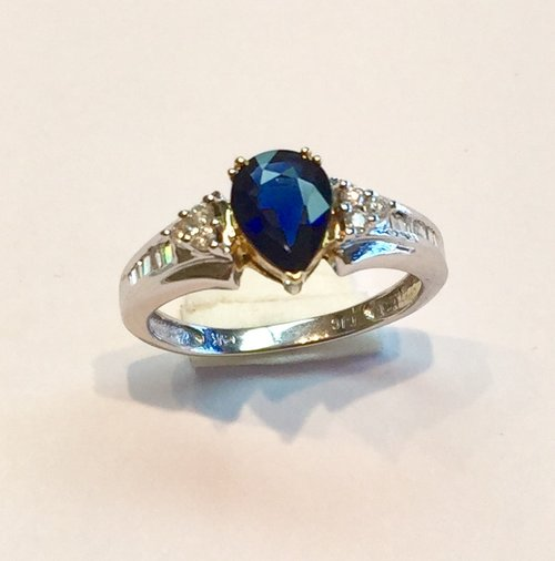 d3872bdeb4 Item no AB57 USD445 14k White and Yellow Gold Sapphire and Diamond Ring  Madagascar blue pear