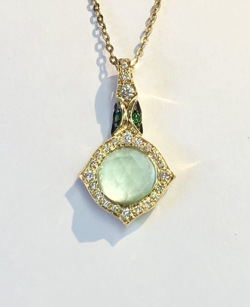Other colored gemstone pendantsnecklaces trillion jewels 18k yellow gold quartz tsavorite diamond necklace aloadofball Image collections