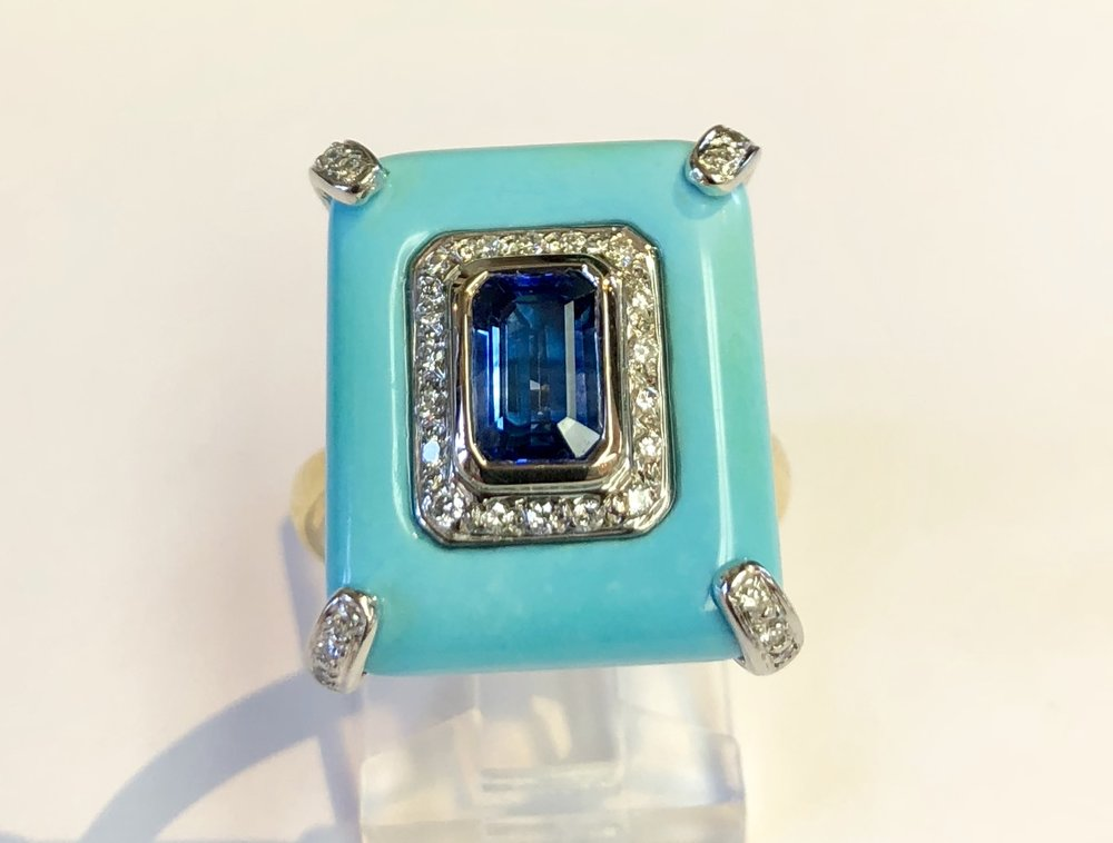 18K White/Yellow Gold Sapphire Turquoise & Diamond Ring