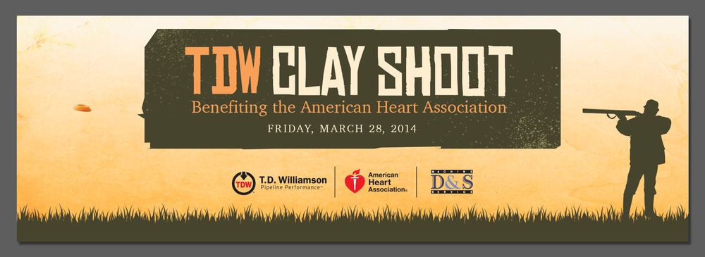 "108"" by 36"" banner for the Annual TDW Clay Shoot, Benefiting the American Heart Association"