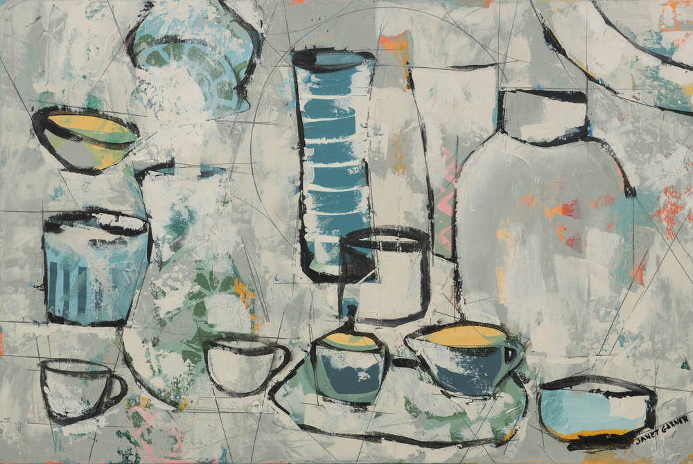 "White Vases, 2015 Acrylic on canvas 24"" x 36"""