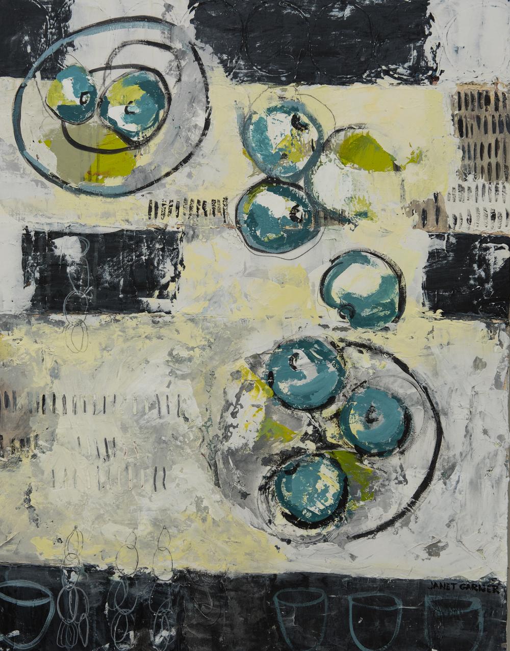 """Blue Apples, 2015 Acrylic on canvas 24"""" x 30"""""""