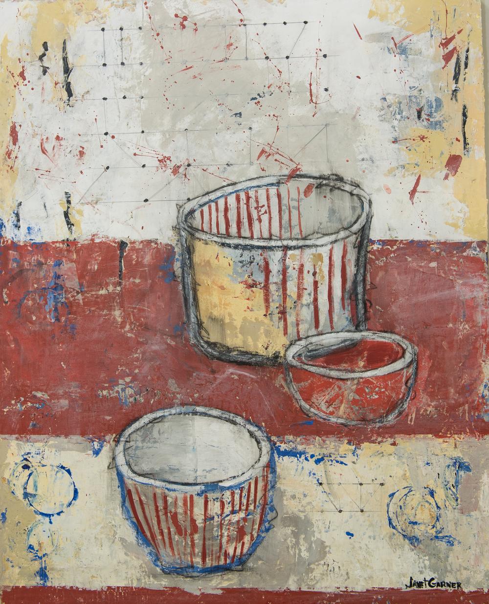 "Is It a Popcorn Bowl?, 2015 Acrylic on canvas 24"" x 30"""