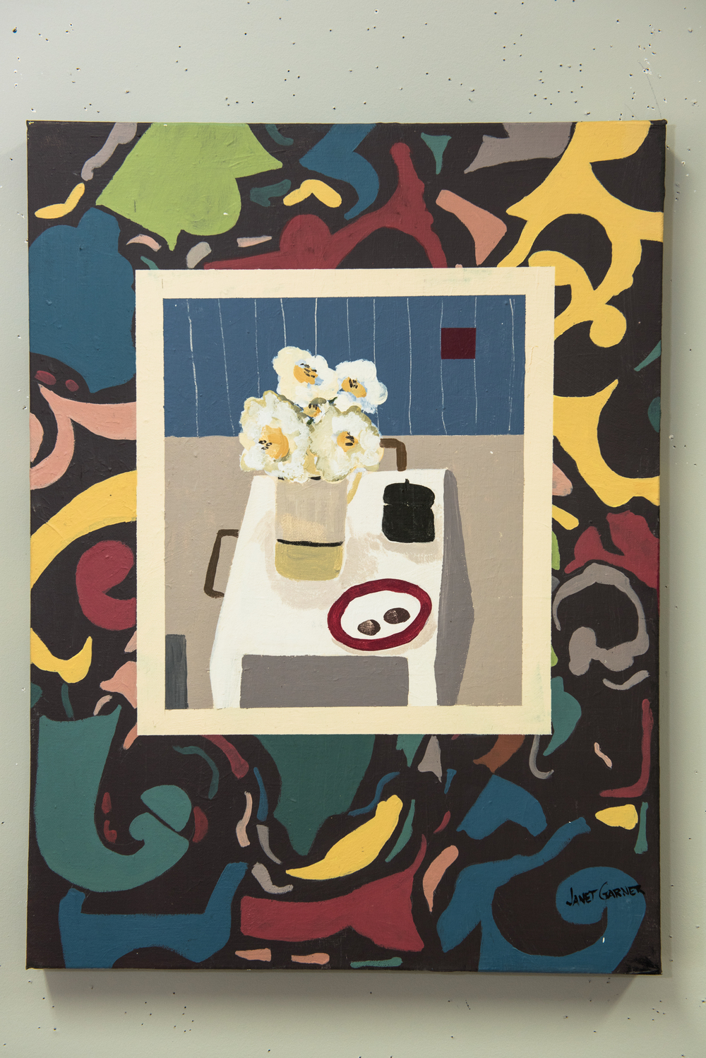 """Pattern with Still Life, 2015 Acrylic on canvas 18"""" x 24"""""""