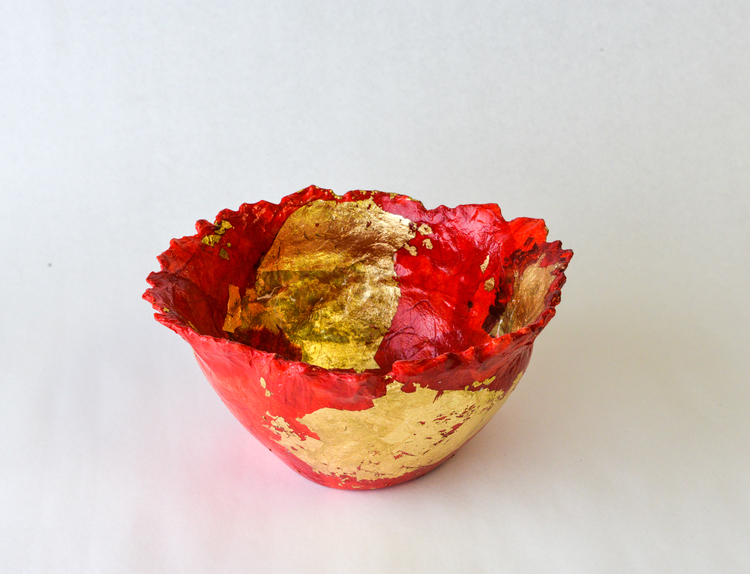 """10"""" x 6"""" Round Bowl, 2013 / Paper clay, collage, and acrylic"""