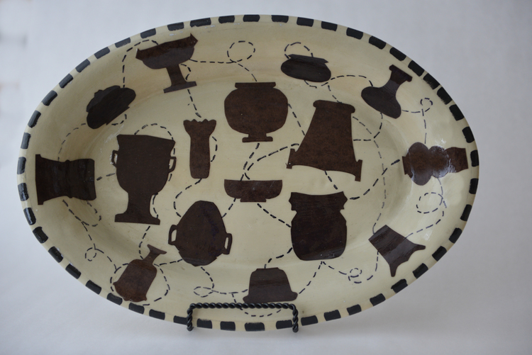 """14"""" x 10"""" Oval Platter, 2013 / Paper clay, collage, and acrylic"""