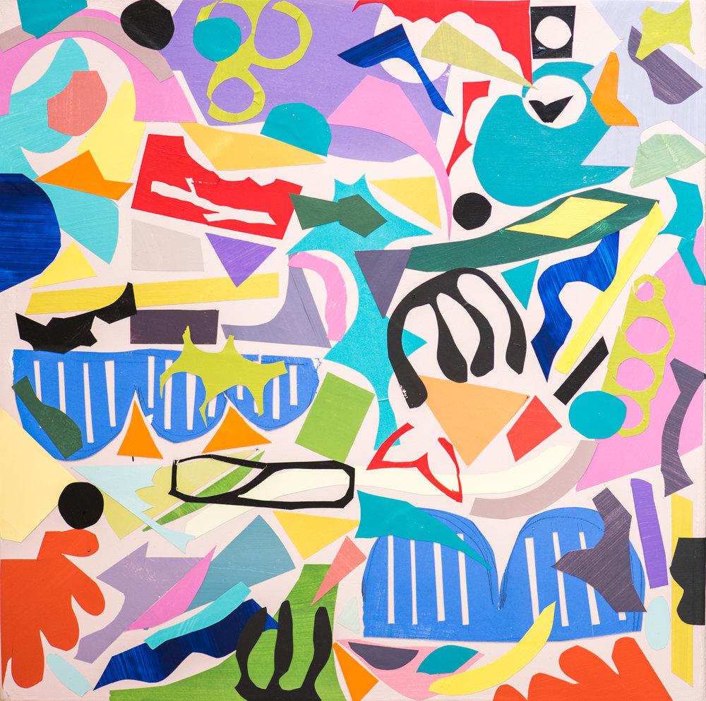 """Bridges Abound, 2018 / Collage on canvas / 12"""" x 12"""""""