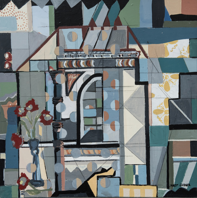 """Structure and Pattern, 2015 / Collage derivation, acrylic on canvas / 24"""" x 24"""""""