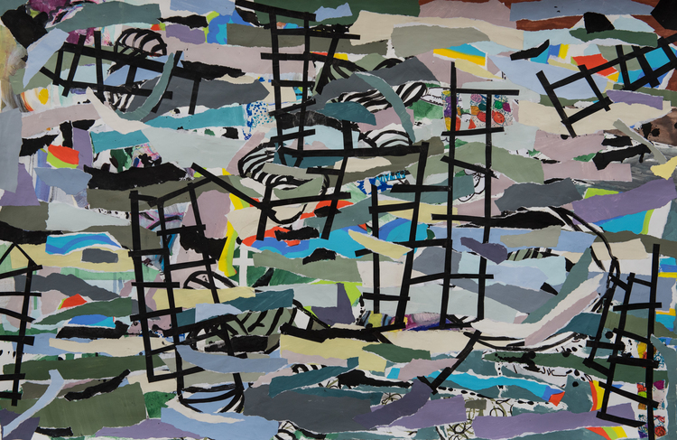 """Bridges to Nowhere, 2015 / Collage, mixed media / 24"""" x 30"""" / Sold"""