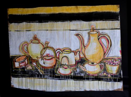 """Tea, 2008 / Mixed media / 48"""" x 60"""" / Sold"""