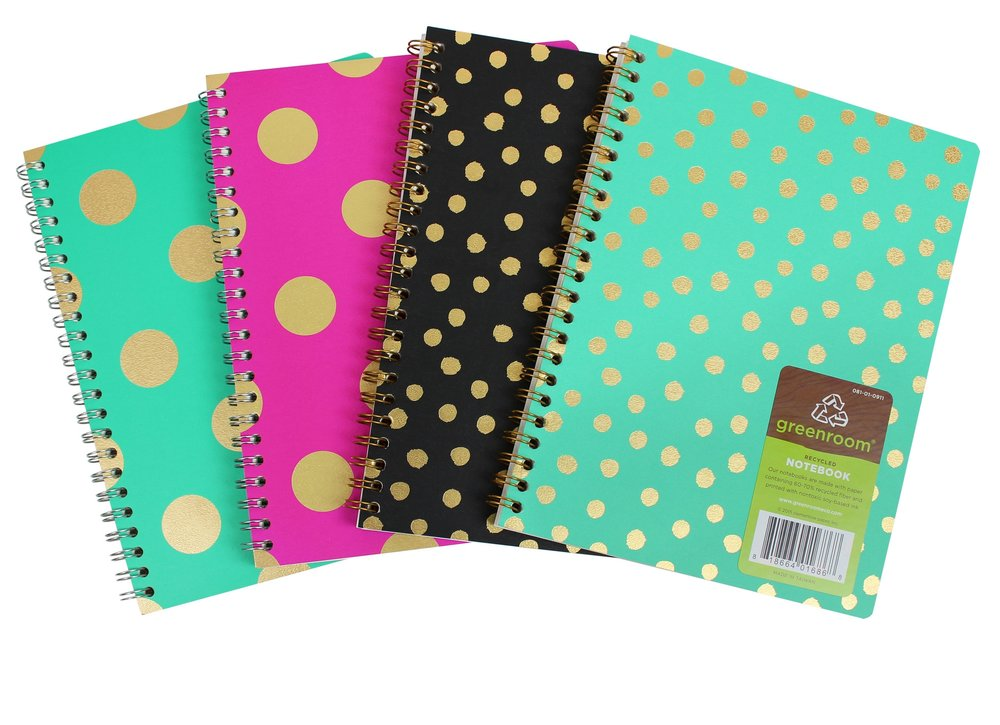 Gold Metallic Dots Notebook  // Greenroom, available at Target