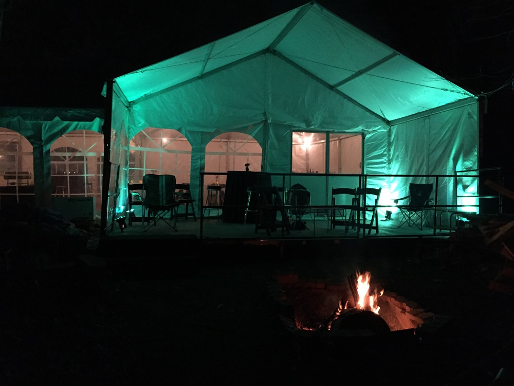 A porch off the main tent gives guests a space to enjoy some fresh air.
