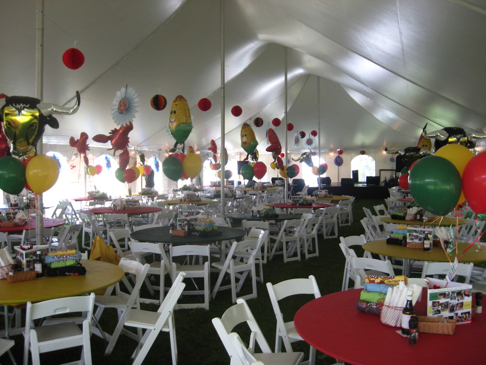 Fun decor and colors enhance this pole tent.