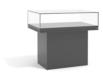 ... To Display Books, Documents Or Works On Paper. A Low, Five Sided Glass  Top Encloses A Horizontal Deck And Is Supported By A Table (or Pedestal)  Base.