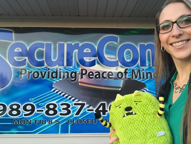 "Henry the ""what if"" grief monster stopped by our office to raise awareness for the Children's Grief Center of the GLBR."