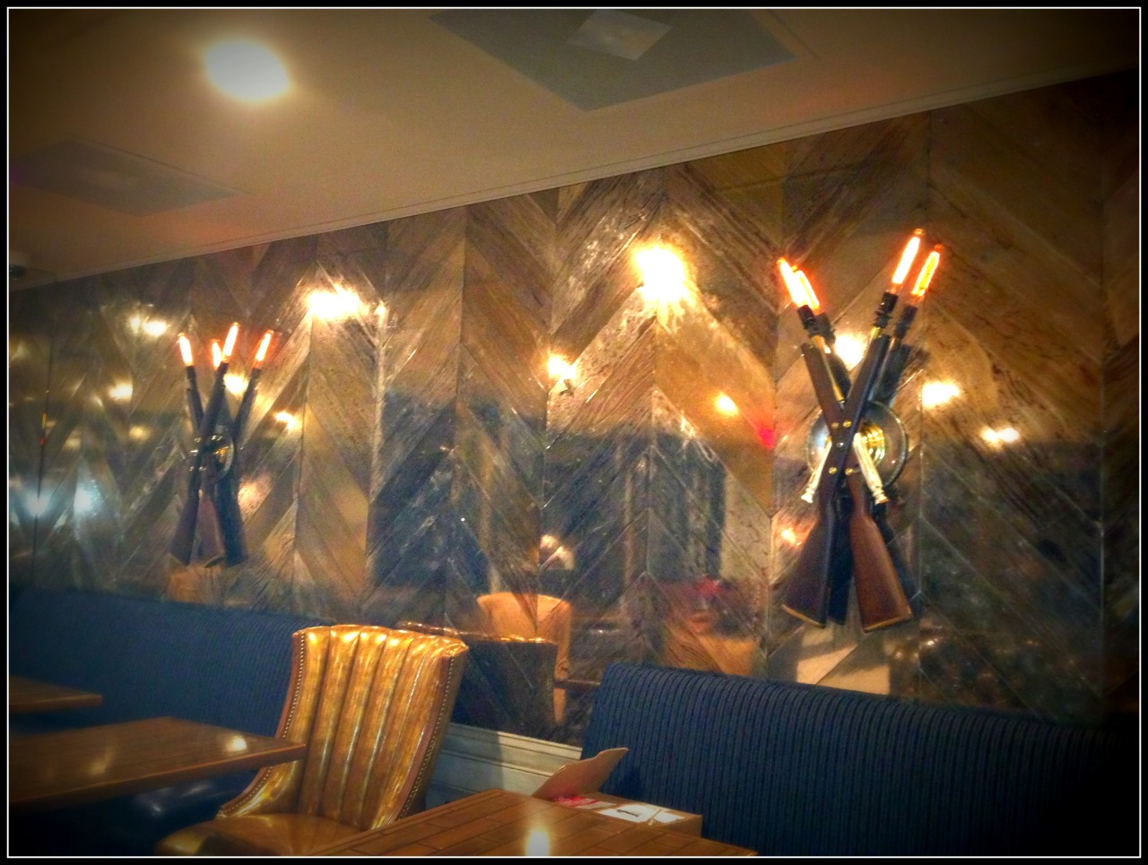 1903 Springfield gunstock sconces in the Rough Rider Lounge for #teddyandthebullybar #grubisart