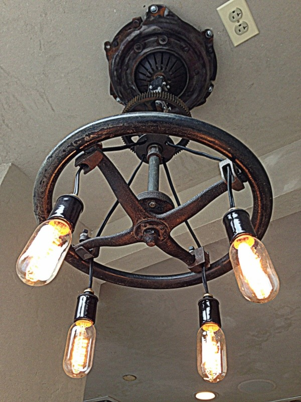 Model 'T' Steering wheel ceiling fixture from Corehaus DC.