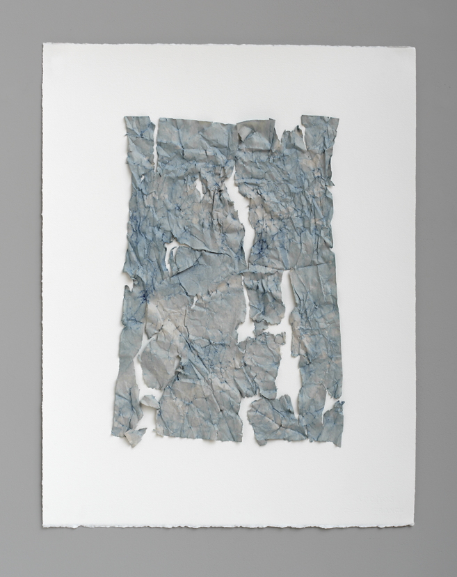 "Sean Riley,  Bluets (small) V , 2016 natural indigo dyed paper on paper, 26"" x 20"""