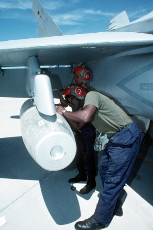1993: U.S. F/A 18 Hornet aircraft loaded with MK-17 napalm bomb. U.S. Naval Air Station, Fallon, Nevada