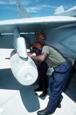 1993: U.S. F/A 18 Hornet aircraft loaded with MK-17 napalm bomb. U.S. Naval Air Station, Fallon, Nevada