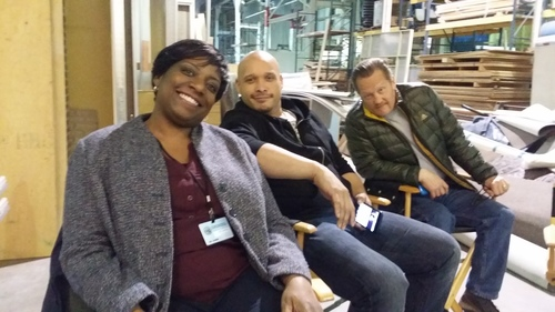 Gately/Poole alumni, Deanna Reed-Foster and Joe Minoso, with Christian Stolte on the set of Chicago Fire