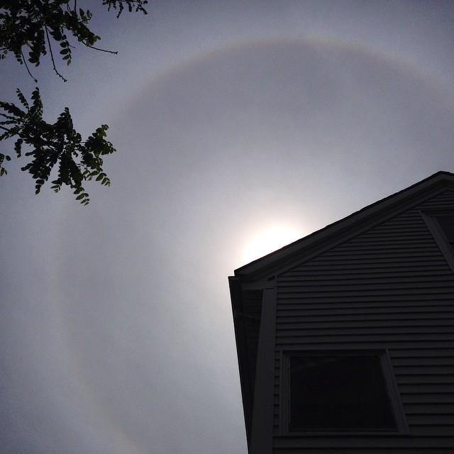 Sundog from my backyard... #sky #sundog #rainbow #clouds #maine