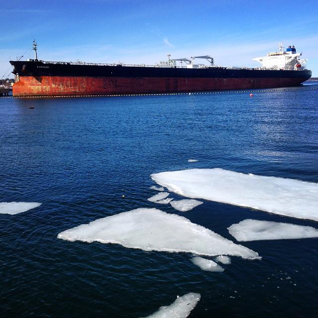 Big ship in Portland harbor... #portland #portlandmaine #maine #evridiki #tanker #ship #ice #winter #cascobay