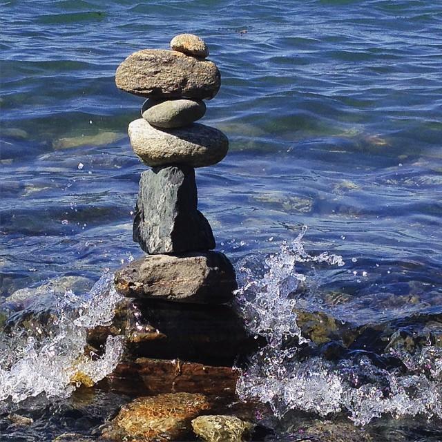 Cairn in the sea... #cairn #rocks #inukshuk #ocean #sea #maine #portland #portlandmaine