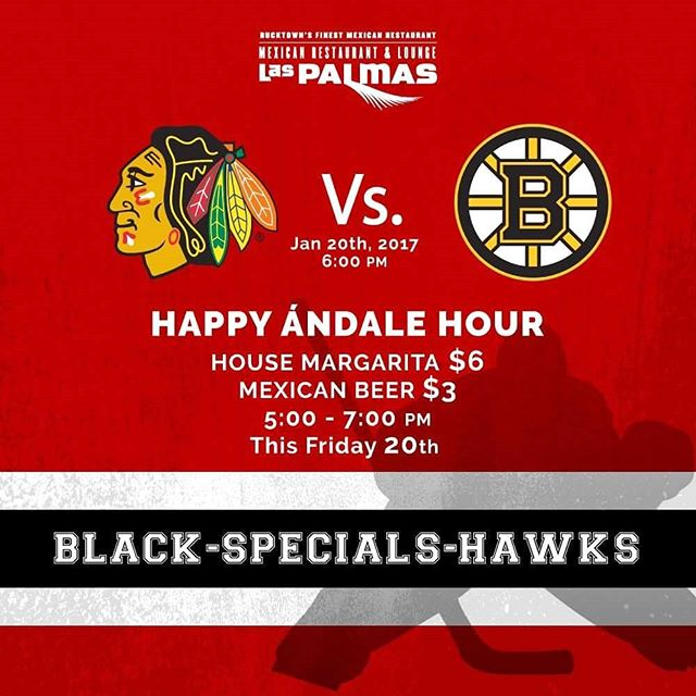 "Happy Ándale Hours have arrived in Las Palmas! Come this Friday to cheer your favorite team, enjoying our House Margarita and a selection of imported Mexican Beer for a special price. Let's get this ""Happy Ándale Hours"" season started! #GameDay#windycity#WickerPark#blackhawks#margaritas#HappyHour#chicago#mexicanfood#hype#traditional"