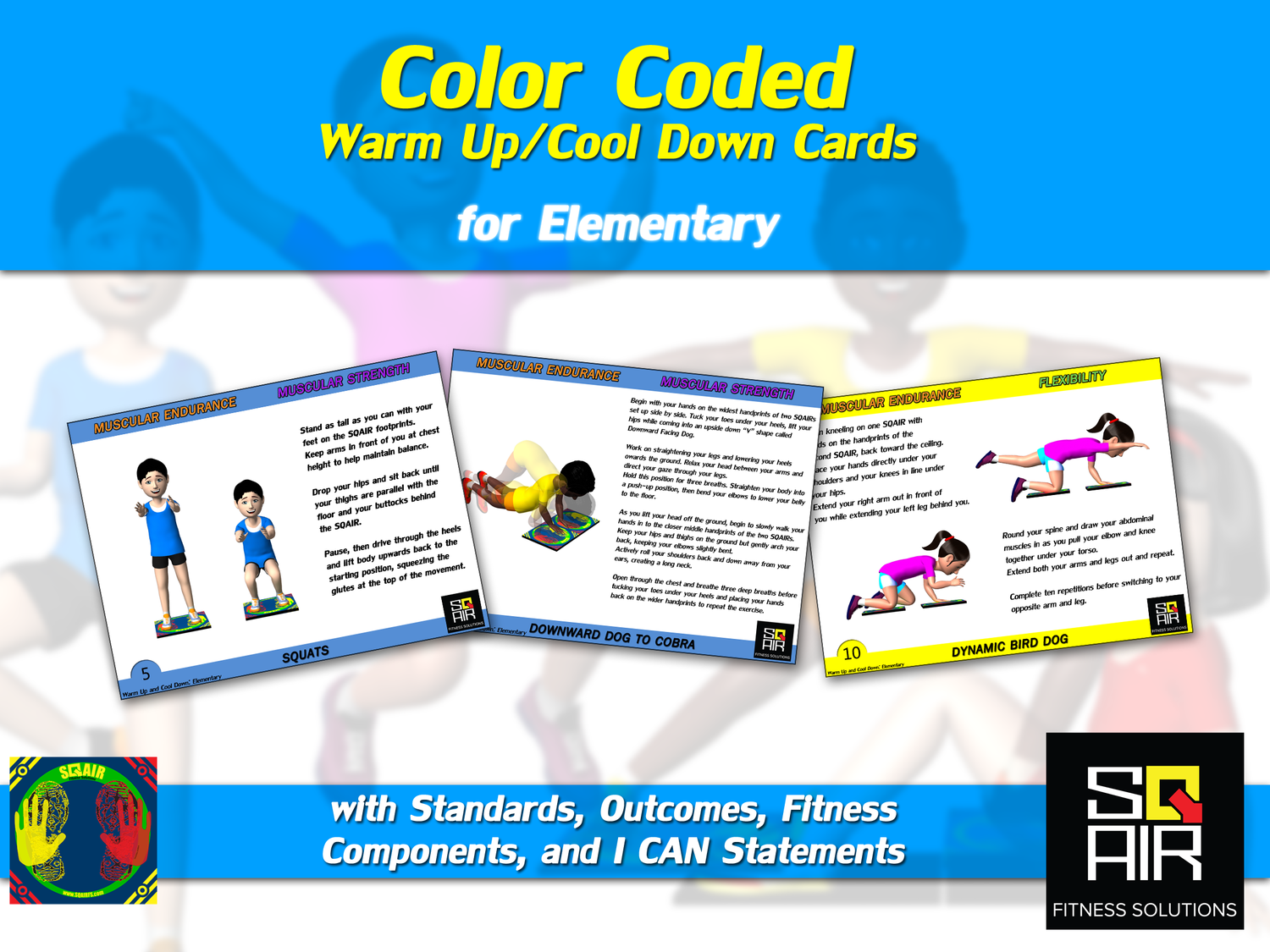 Color Coded Warm Up Cool Down Cards For Elementary Sqair Fitness