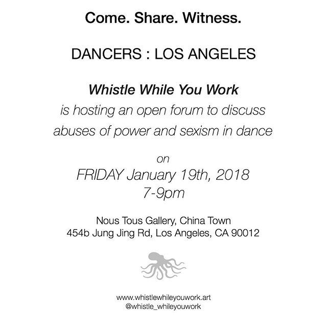 Los Angeles dancers are starting a conversation with @noustousla and @whistle_whileyouwork
