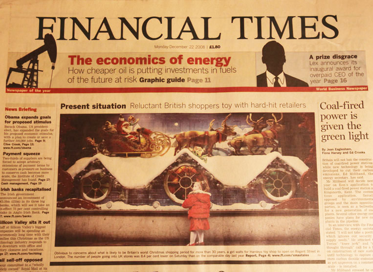 The Financial Times, Monday December 22, 2008.