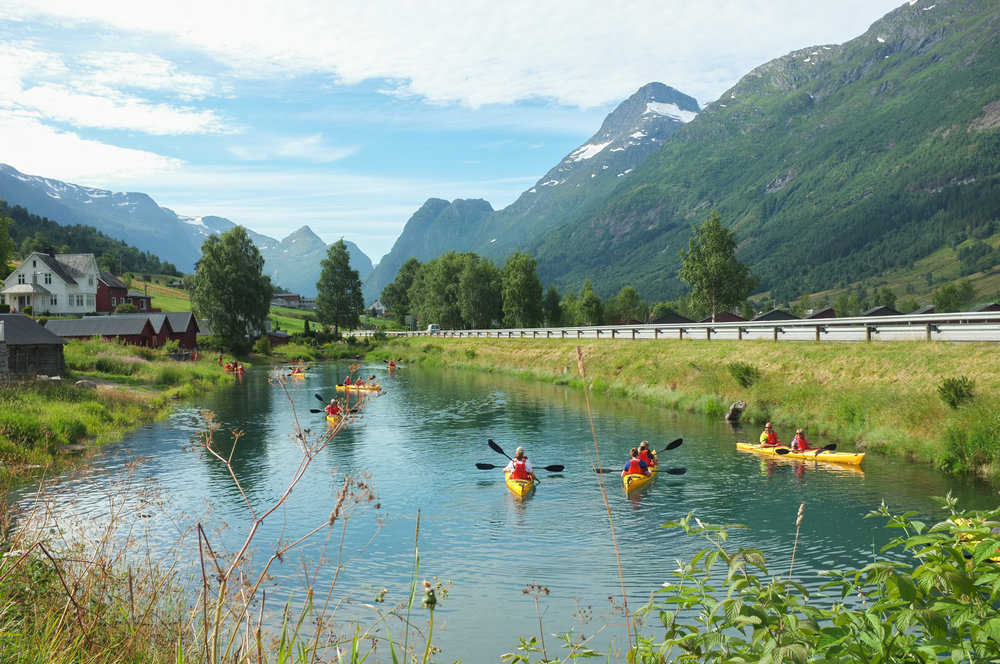 Kayaks in Olden, Norway