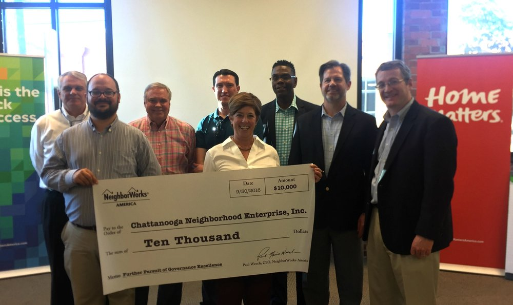 From Left to Right: Board members Frank Hughes, Marco Perez, Buck Schimpf, John Bilderback, President and CEO Martina Guilfoil, Board Members Ricardo Morris, Ralph Woodard, John Bridger