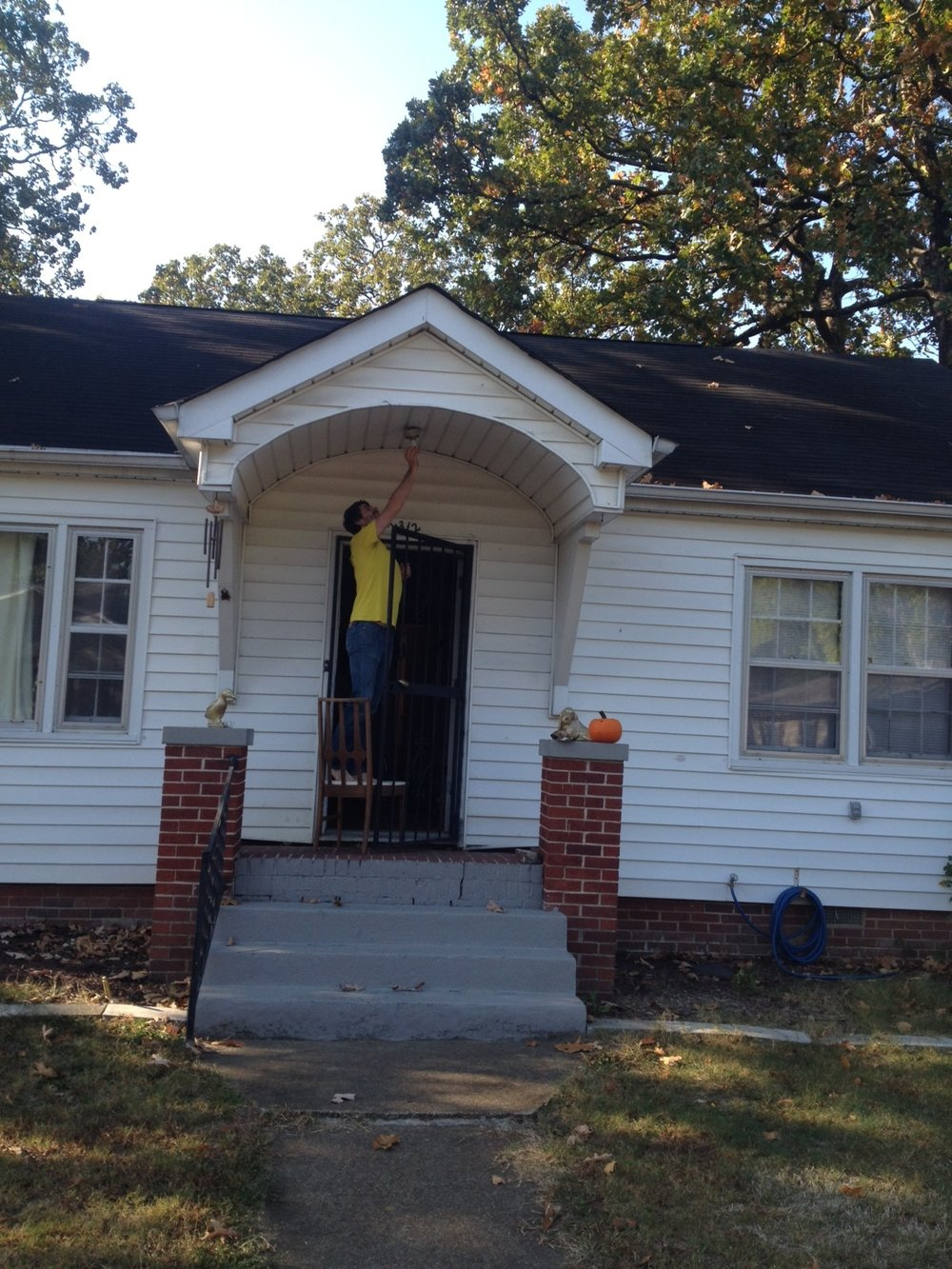 A Ridgedale resident immediately replacing his porch light with an LED bulb!
