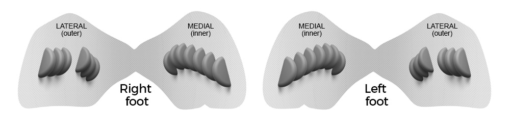 Insolia Achilles Pair showing inner (medial) and outer (lateral) sections which are designed to grip the heel bone without compromising the Sural Nerve.