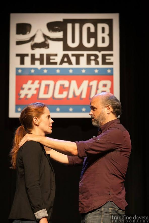 Julie with scene partner Scott Adsit at UCB Del Close Marathon 2016