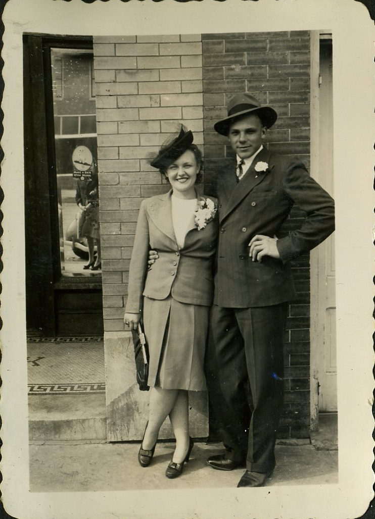 Grandma and Grandpa on their wedding day.