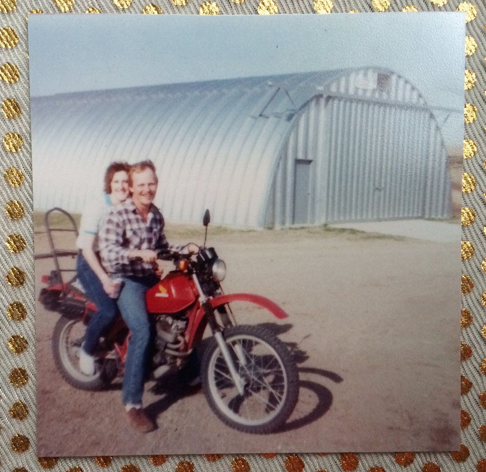 Mom and Dad when they were dating —  I think this was taken right before my mom crashed the motorcycle into a tree! This photo is taken on the property where I grew up.